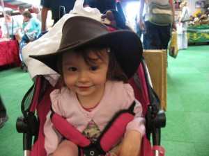 Carmen with her Dads' hat on