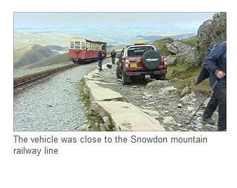 Car driven up Snowdon